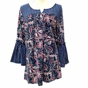 Como Blu floral print blouse with flared sleeves